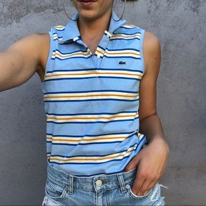 Baby blue striped Lacoste collared golf tank